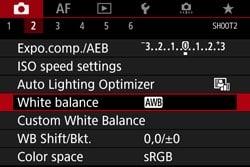 Canon 5D Mark IV settings - white balance AWB