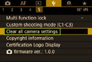 Canon 5D Mark IV to factory settings - clear