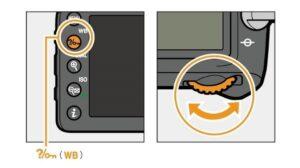Nikon D7200 portrait settings - white balance buttons
