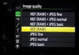 Nikon D7200 wedding settings - raw format