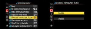 Nikon Z6 shutter speed - electronic front-curtain shutter