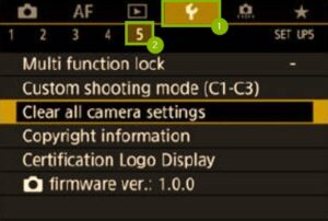 Reset Canon 5D Mark IV to factory settings - wrench