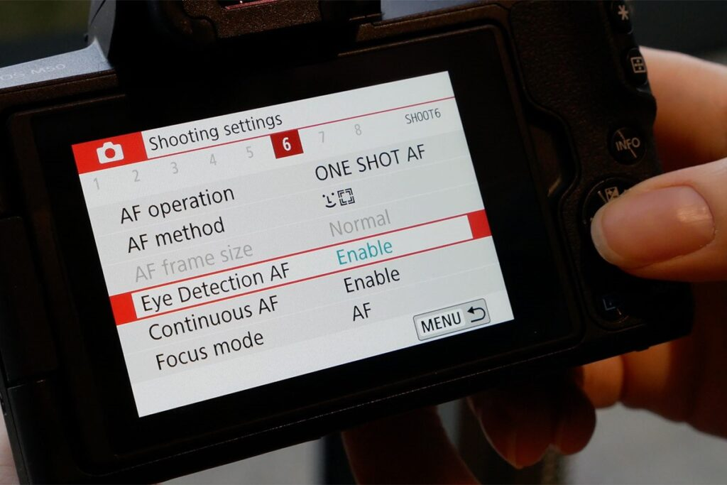 Canon M50 cinematic settings - standard menu
