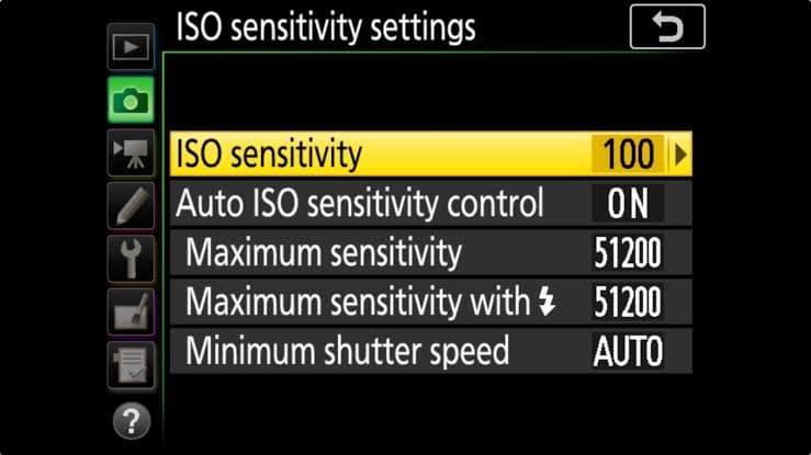 Nikon D500 Portrait settings - ISO sensitivity