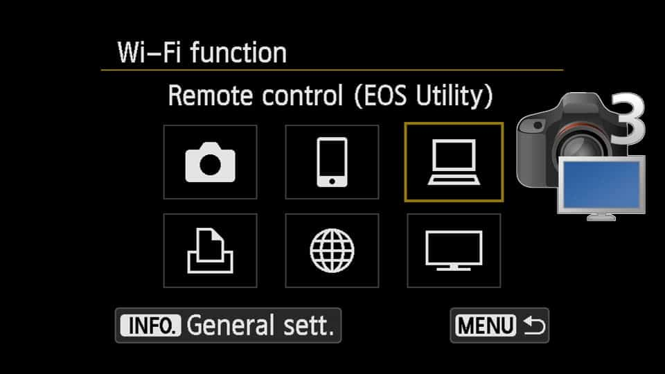 How to connect Canon t6i to computer - select EOS utility as the connection type