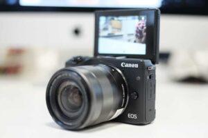 Canon EOS M3 camera with flip screen