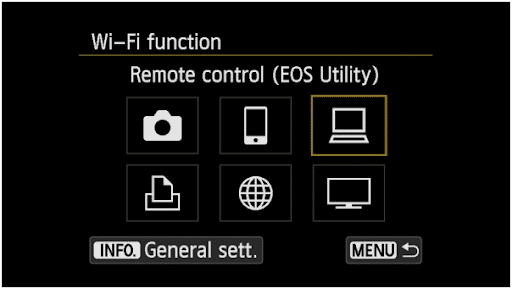 Connect Canon 6d Mark ii to computer - configure wifi settings